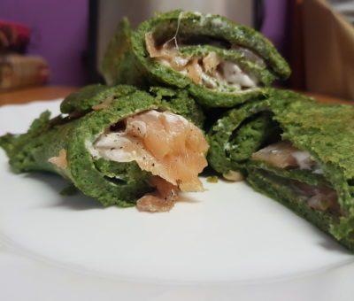 špenátová palacinka s lososom