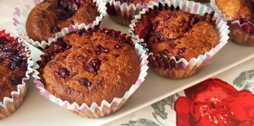 malinové muffiny